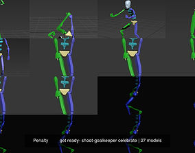 Penalty get ready- shoot-goalkeeper celebrate 3D