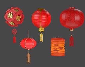 Chinese Lantern 3D model game-ready PBR