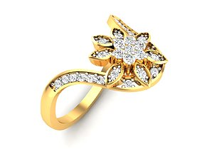 Women bride flower ring 3dm render detail solitaire