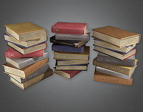 3D asset Books Stack HVM - PBR Game Ready