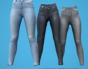 3D asset Grey and Blue Jeans Leather Pants Collection