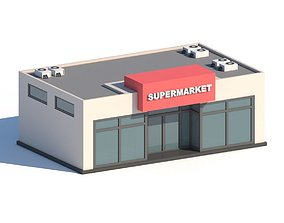 3D asset Cartoon Low Poly Supermarket Mall Building