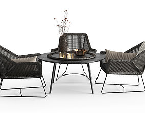 3D Modern Outdoor Braided Furnitures Set
