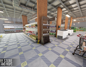 3D asset Grocery store - interior and props