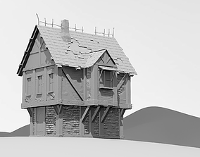 Medieval house 3D printable model shield