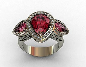 3D print model Garnet-Rhodolite and Diamond Ring