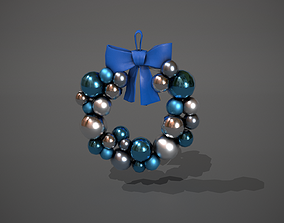 Blue and Silver Christmas Bauble Wreath 3D asset