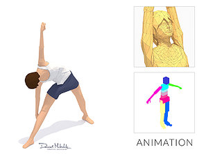 Triangle Pose Yoga Exercise Woman Animation 3D model