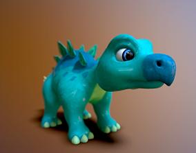 3D asset cartoon baby stegosaur