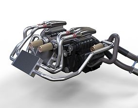3D Double engine V8