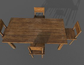 realtime wooden table and chair Low-poly 3D model