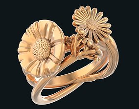 Field flowers bouquet ring 3D print model