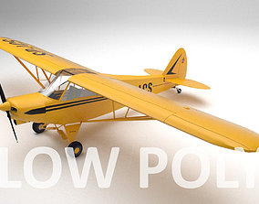 Piper PA-18 Supercub Low Poly 3D model rigged