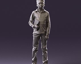 junior boy in white red blue polor and book 1079 3D Print