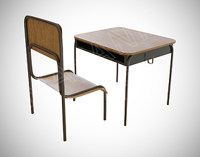 Japanese School Chair And Desk 3D