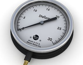 Vintage large steam pressure gauge 3D