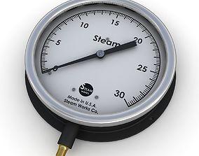 Vintage large steam pressure gauge 3D