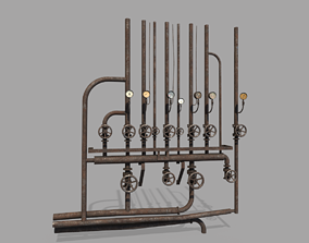 Rusty Wall Pipes And Valves 3D model