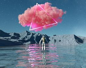 3D Surrealist landscape Astronaut