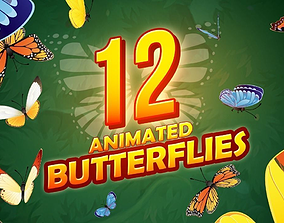 3D model 12 Animated butterflies pack