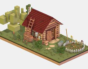 Isometric Village Wood Garden Depot Hangar Shed 3D model