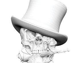3D print model Realistic Man Skull with rose flower