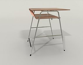 game-ready Student desk lowpoly 3D model