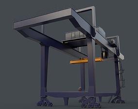 PBR Rail Mounted Gantry Crane RMG V1 - Blue Dark 3D asset
