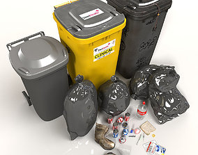 3D model Wheelie Bin Kit With Rubbish