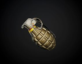 3D Grenade Weapon with Alpha Map Seamless PBR Texture