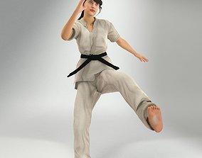 Karate Lady Lite Rig 3D model