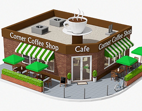 3D model Corner Coffee Shop