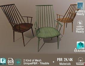 PBR Various Options Wooden Armchair Design - 3D model 2