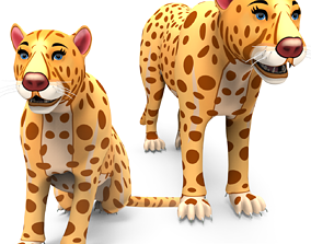 animated low-poly 3D Rigged And Animated Cartoon Leopard