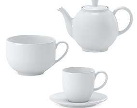 3D model White ceramic tea set