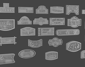 3D print model 24 signboards Wild West
