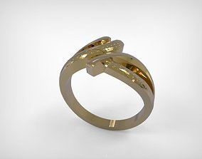 3D printable model Jewelry Twisted Golden Ribbon Ring