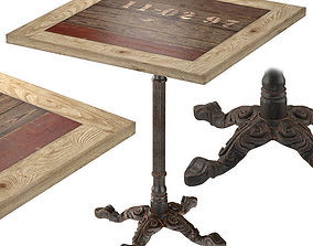 3D model Cast Iron and Larch Restaurant Table Square