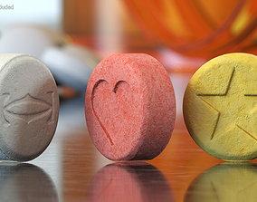 MDMA Ecstasy Tablets Set 3D