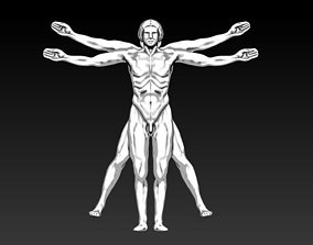 3D printable model Da Vinci Vitruvian Man of math Symbol 3