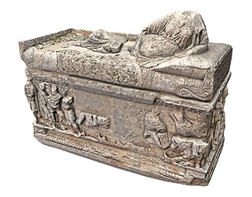 Sarcophagus 3D model low-poly