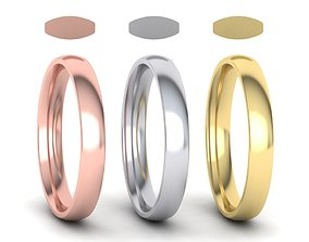 3D print model Traditional Court Wedding band 3mm wide