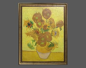Bronze Frame with Stretcher and Van Gogh Oil 3D model 1
