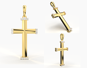 JESUS CROSS DIAMOND PENDANT 3D print model