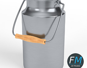 Stainless steel milk container 3D model
