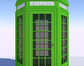 3D Classic British Phone Both Hexagonal