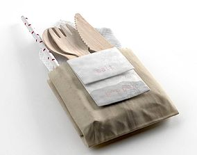 3D model Napkin Pockets with Wooden Cutlery