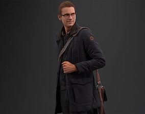 00057Jeffrey002 Man Walking Pre Posed 3D Model