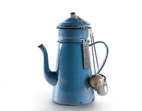 3D Vintage Blue Teapot