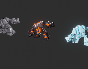 Game monsters collection 3D asset